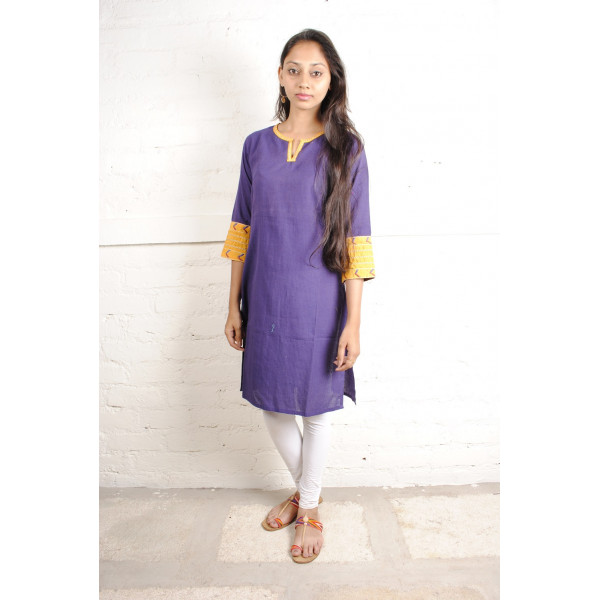 Sabala Handicrafts Violet and Yellow Hand Embroidered Kurta