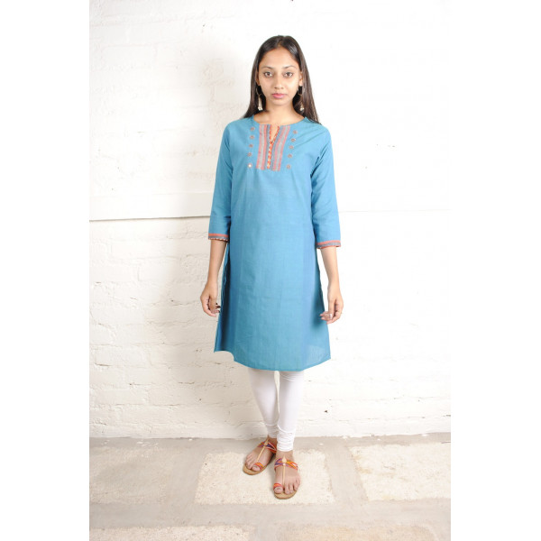 Sabala Handicrafts Sky Blue Hand Embroidered Kurta
