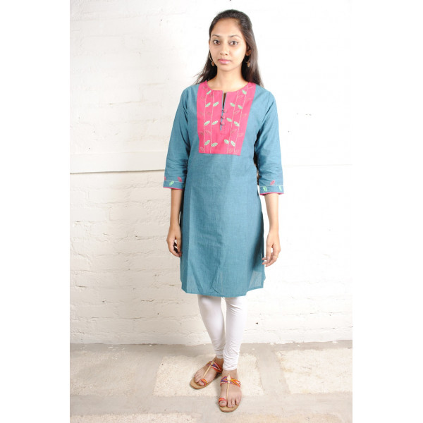 Sabala Handicrafts Flowers on Fuschia Hand Embroidered Kurta