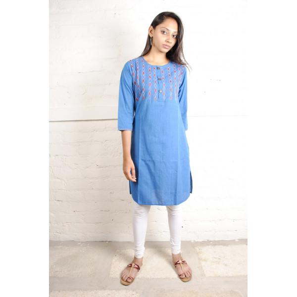 Sabala Handicrafts Bella in Blue Hand Embroidered Kurta