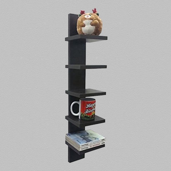 Alpha Wall Mount 5-tier Spine Floating Decorative Shelving Set - Wenge