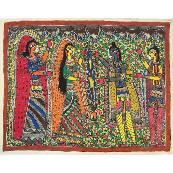 Madhubani Hasthkala, Lord Ram Sita Swayamvar Madhubani Painting