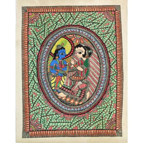 Madhubani Hasthkala ,Radha krishna Madhubani Painting