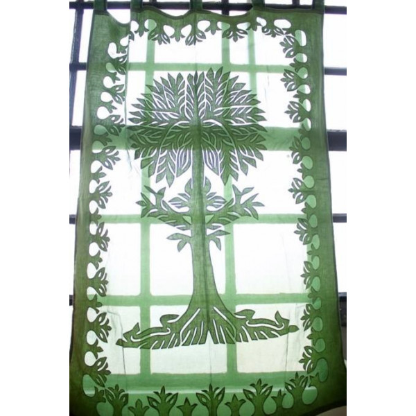 Green Cotton Curtain with Tree of Life Imprint