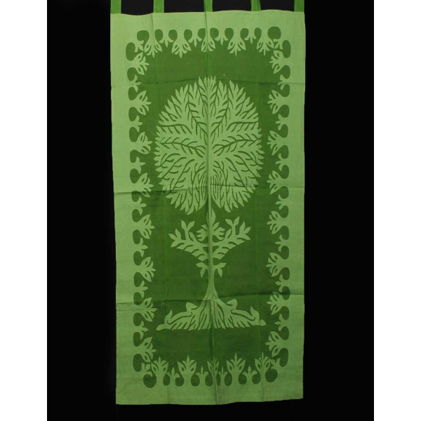 Green Cotton Curtain imprinted with Tree of Life