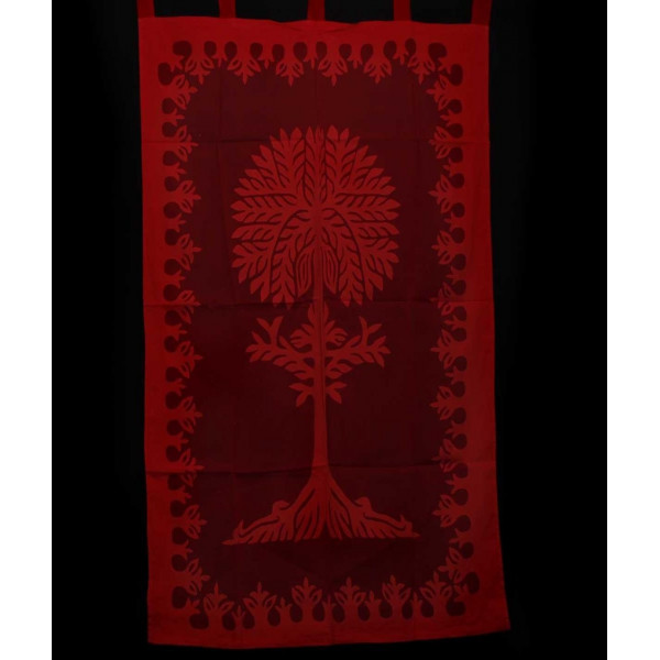 Maroon Cotton Curtain imprinted with Tree of Life