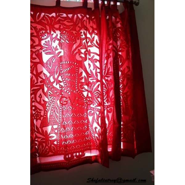 Red Cotton Curtain with Mughal Print