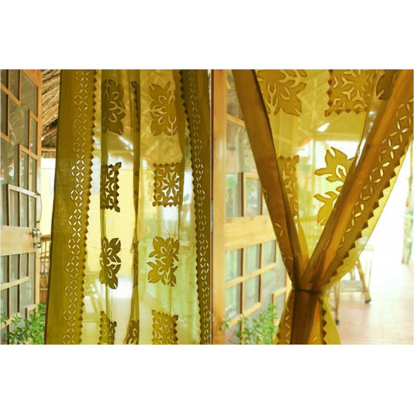 Yellow Cotton Curtain with Square Print