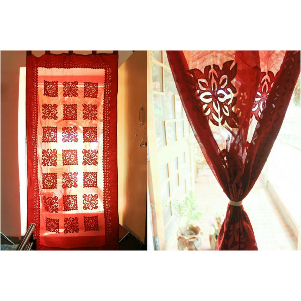 Red Cotton Curtain with Square Print