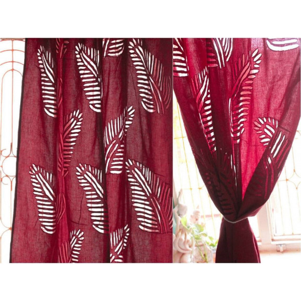 Cotton Curtain with Leafy Print