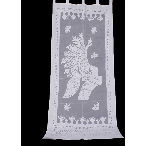 White Cotton Curtain with Peacock Print