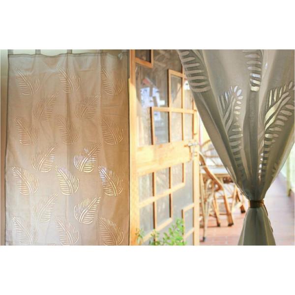 Cotton Curtain with Fern Leaf Print