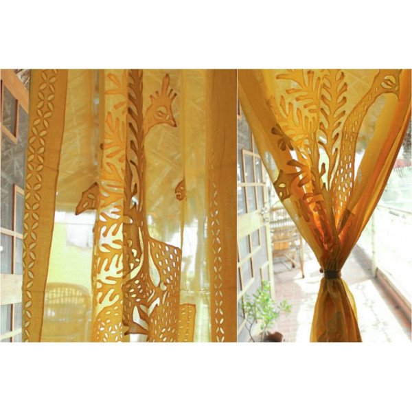 Yellow Cotton Curtain with Peacock Print