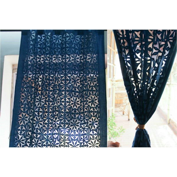Royal Blue Cotton Curtain with Floral Work