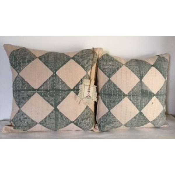 MAYA WEAVES SANGANERI BLOCK PRINTED-COTTON CUSHION COVERS( Set of 3)