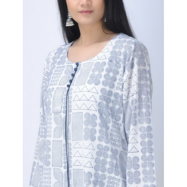 Aavaran Women's White Kurta With Slip