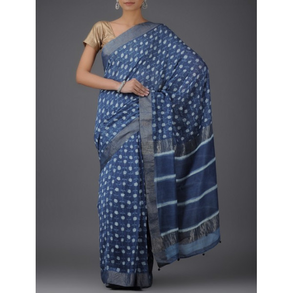 Aavaran Women's White Printed Chanderi saree