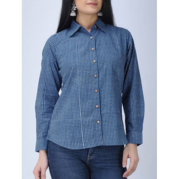 Aavaran women's Blue Cotton Checkered Shirt