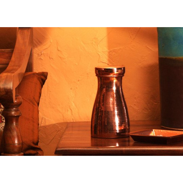 Coppre carafe and Glass