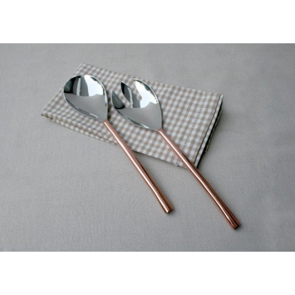Coppre Oval Copper-Plated 2-Piece Salad Server Set