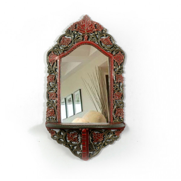 LifeEstyle Handicraft Carved Wooden Dressing Mirror With Shelf