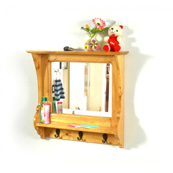 LifeEstyle Pine Wood Mirror Frame Shelf With Hooks