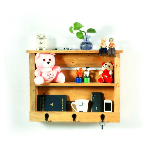 LifeEstyle Pine Wood Multipurpose Wall Shelf