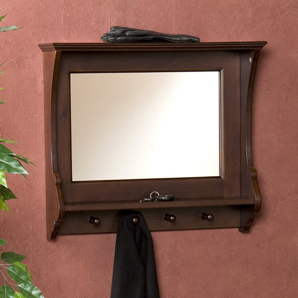 LifeEstyle Mango wood Mirror Frame Shelf With Hooks