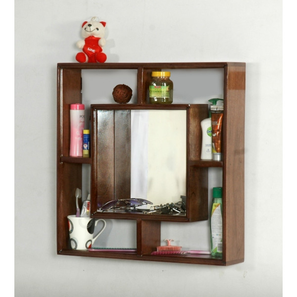 LifeEstyle Wooden Wall Shelf With Dressing Mirror