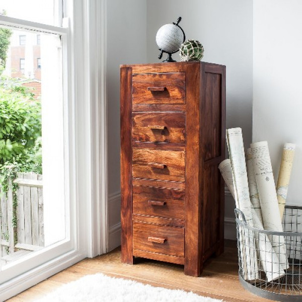 LifeEstyle Handcrafted Sheesham Wood Chest Of 5 Drawers