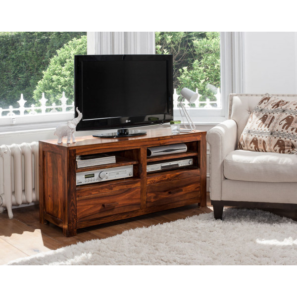 LifeEstyle Handcrafted Sheesham Wood Tv Stand With 2 Drawers