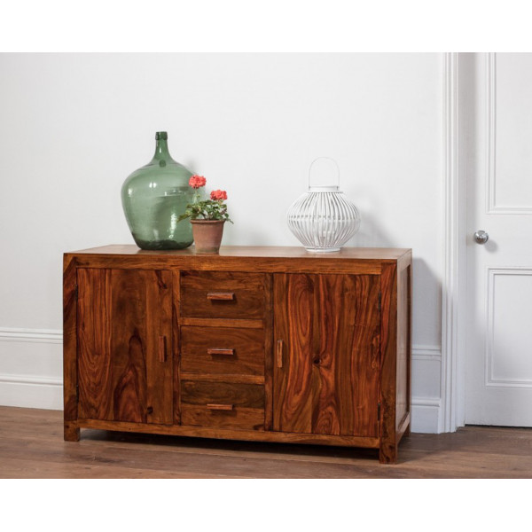 LifeEstyle Handcrafted Sheesham Wood Sideboard With 3 Drawres And 2 Doors