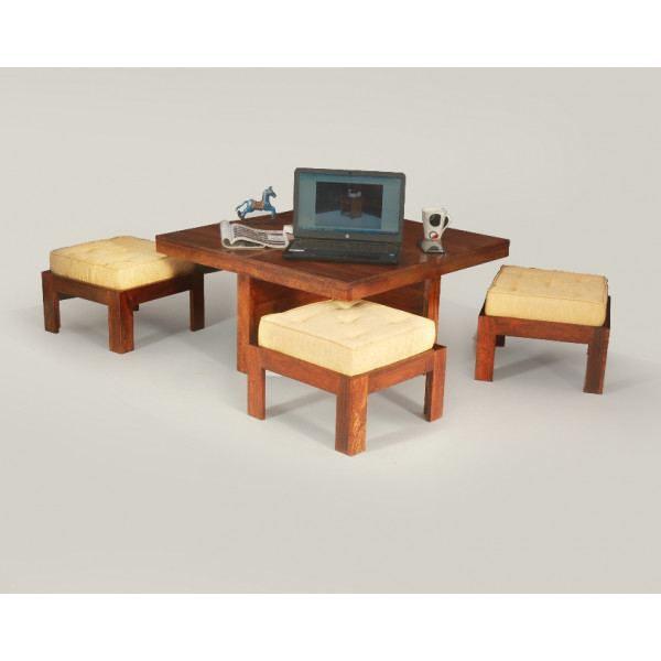 LifeEstyle Solid Wood Coffee Table With 4 Cushion And Stools