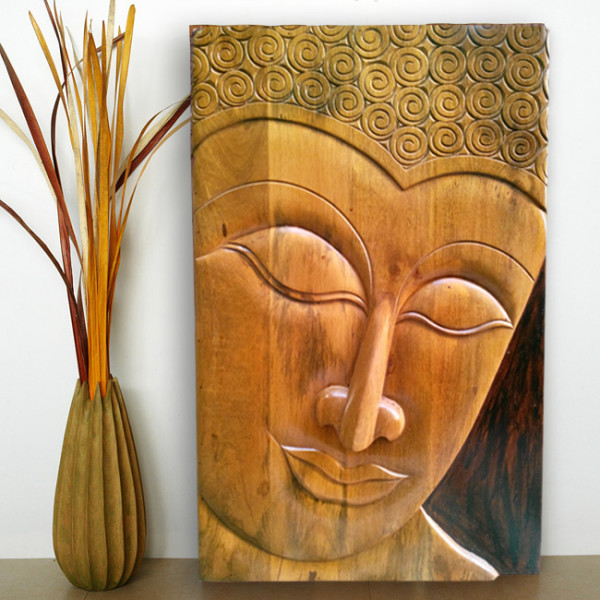 LifeEstyle Solid Mango wood Buddha Wall Panel
