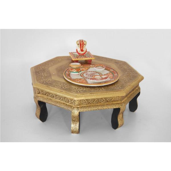 LifeEstyle Brass Fitted Decorative Chowki