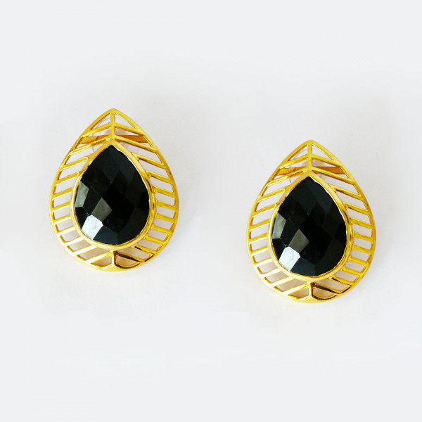 Siddhaa 22Ct Gold Plated | 925 Sterling Silver, Stone:Black Onyx, Dimension: 28X35 Mm Approx. Earrings