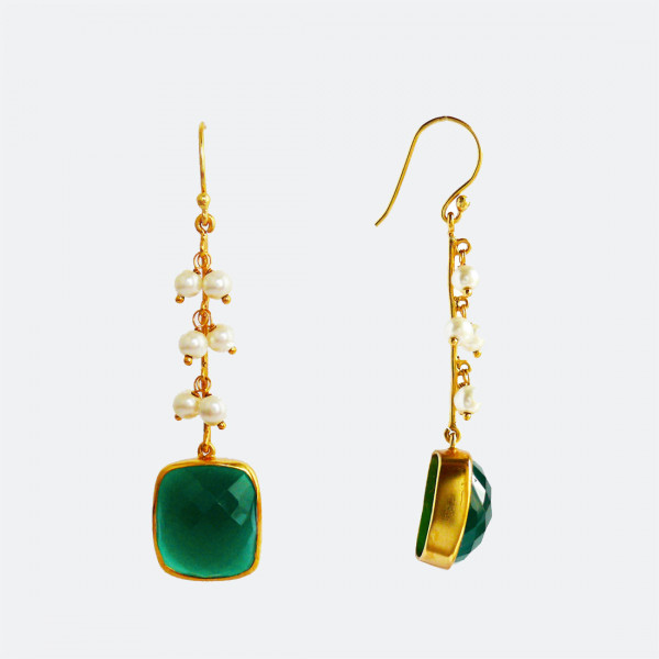 Siddhaa 22Ct Gold Plated, 925 Sterling Silver, Emerald & Pearls, Dimension: 15X60 Mm Approx. Earrings