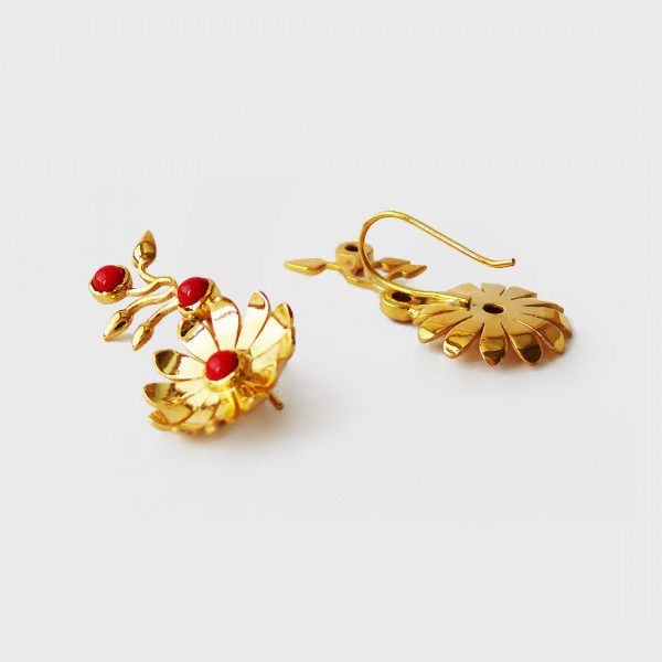 Siddhaa 22Ct Gold Plated Brass Stone: Red Onyx Earrings