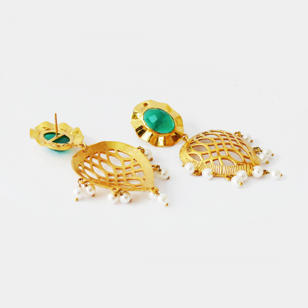 Siddhaa 22Ct Gold Plated Silver, Turquoise & Pearls. Dimension: 30X70 Mm Approx. Earrings""