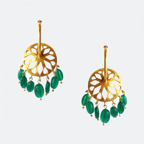 Siddhaa 22Ct Gold Plated 925 Sterling Silver Turquoise & Pearls. Dimension: 25X50 Mm Approx. Earrings