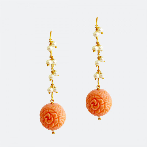 Siddhaa 22Ct Gold Plated 925 Sterling Silver Pearls, Carved Bead (Color: Coral) Earrings