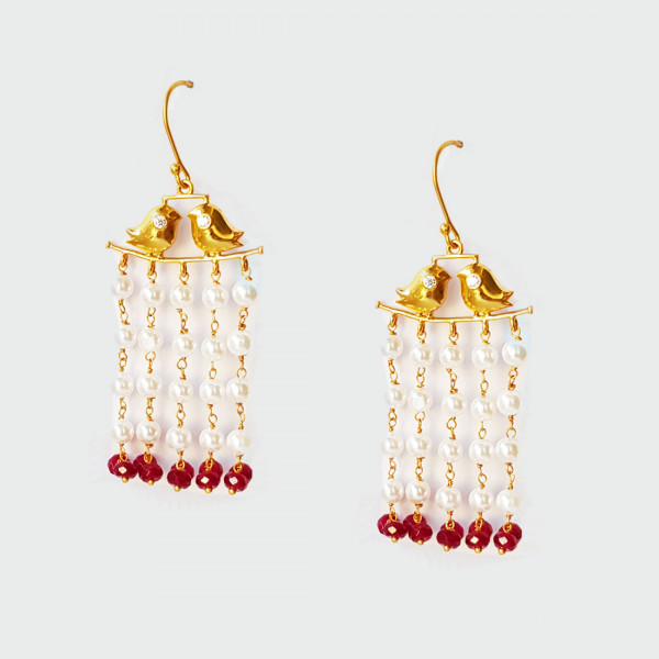 Siddhaa 22Ct Gold Plated | 925 Sterling Silver Stone: Zircon, Pearls & Red Beads Dimension: 30X70 Mm Approx. Earrings