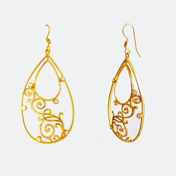 Siddhaa 22Ct Gold Plated 925 Sterling Silver Stone: Cubic Zirconia. Dimension: 30X60 Mm Approx. Earrings