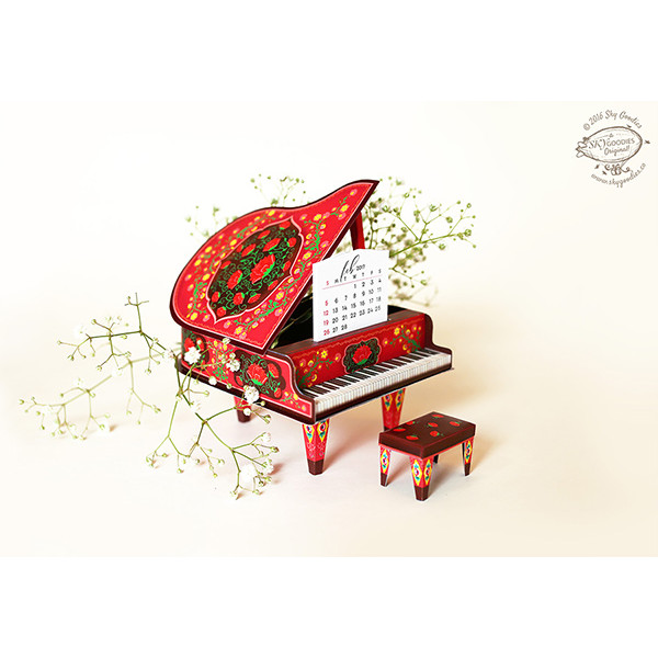 Sky Goodies 3D red Piano Calender