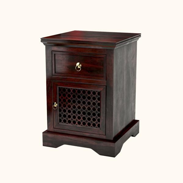 Scarlett Sheesham Wood Nightstand End Table Cabinet