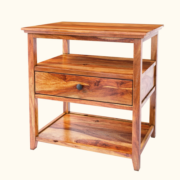 Edmond Sheesham Wood 3-Tier Nightstand Table w Drawer