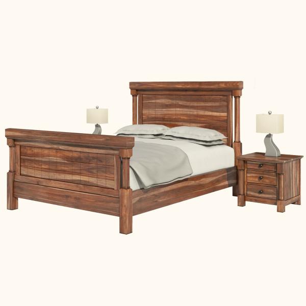 West Street Sheesham Wood Platform Bed Frame