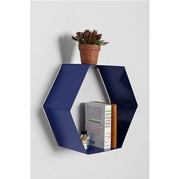 FabFull Hexa Blue Wall Shelf