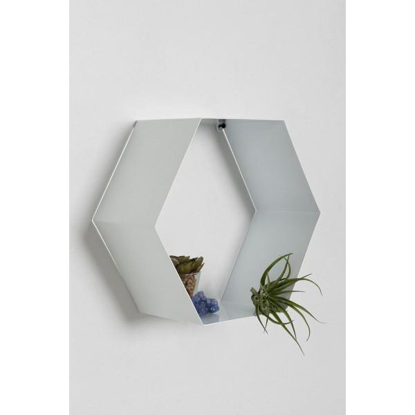 FabFull Hexa White Wall Shelf