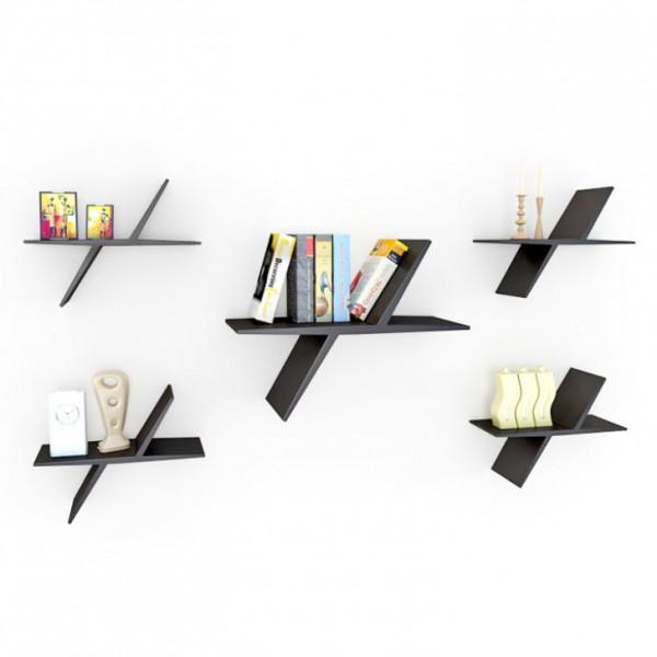 FabFull Butterfly set of 5 shelf Black